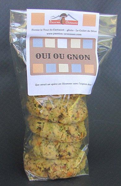 Biscuits salés Oui ou Gnon, châtaigne oignons